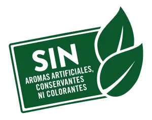 Sin aromas artificiales, conservantes ni colorantes